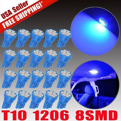 20X Ultra Blue T10 194  8SMD LED Instrument Panel Interior Dome Map Light Bulbs
