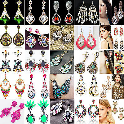 NE Fashion Women's Crystal Rhinestone Ear Stud Dangle Earrings Charming Jewelry