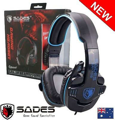 SADES GPOWER 708 3.5mm Computer Headset Gaming with microphone for PC BLUE