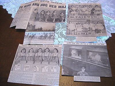 LOT of 4 Vintage 1939 DIONNE QUINTUPLETS Newspaper Clippings-5TH BIRTHDAY +++