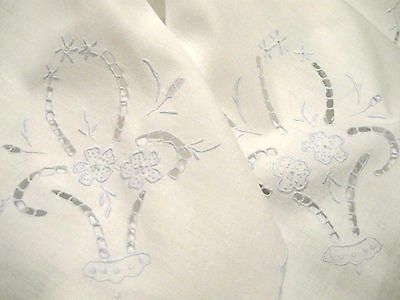 Antique/Vintage EMBROIDERED COTTON Tablecloth - BLUE & WHITE EMBROIDERY CUTWORK