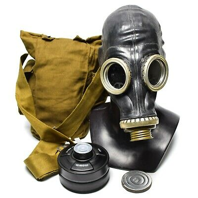 Original Soviet russian Gas mask GP-5  black rubber new full set.  Size Medium