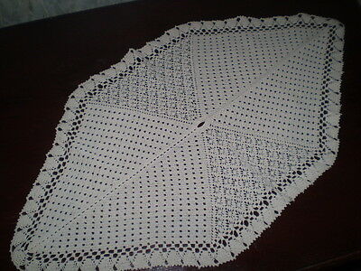 Vintage- Handmade -Cotton-Crochet-Tablecloth-with-Unique-Form