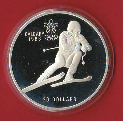 1988 (1985) $20 Calgary Olympic Sterling Silver Coin ( 1oz ASW) - Alpine Skiing