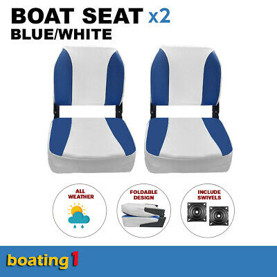 2 Deluxe Boat Seats Blue/White With Swivels