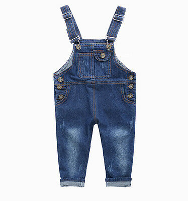 Baby Boy Girl Jean Overalls Denim Trousers Suspender Jeans Pants
