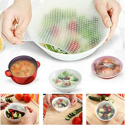 4 Pieces Silicone Wrap Seal Cover Stretch Cling Film Food Fresh Kitchen Tools
