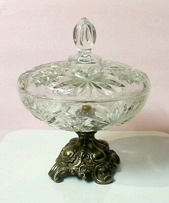 Vtg Hollywood Regency Style Cut Crystal Brass Pedestal Compote Candy Dish w/ Lid