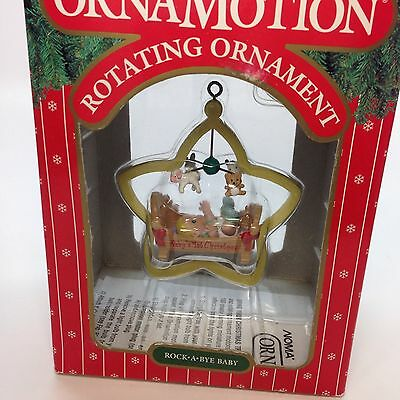 Noma Ornamotion Rotating Ornament Rock A bye Baby First Christmas 1989