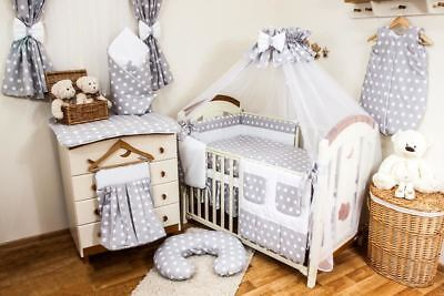LUXURY NURSERY COT BEDDING SETS 11,12 or 15 PIECE POLKA DOTS BABY BED BUMPER SET