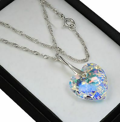 925 Sterling Silver Necklace Crystal AB 18mm Heart Crystals from Swarovski®