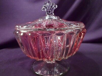 Antique Victorian Cranberry Glass Compote, Footed, Lidded, EAPG