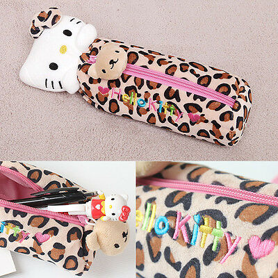 Sanrio Hello Kitty Pencil Case Bag Zippered Cosmetic Doll Pouch - LEOPARD