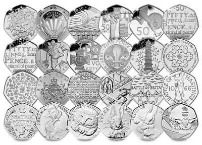 Rare 50p coins - Kew, Peter Rabbit, EEC,NHS,WWL, for coin hunt albums GB 2016