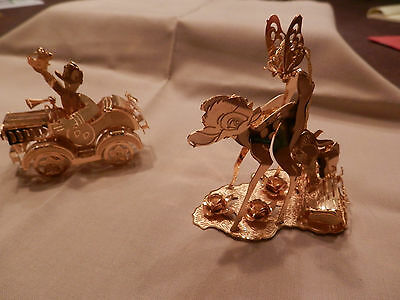 2 Disney Danbury Mint Gold Christmas Ornaments Bambi and Donald Duck in Car