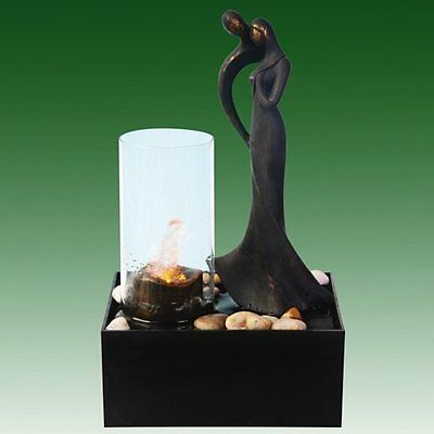 Couple with Candle Effect Indoor Tabletop Water Feature Ideal for Feng Shui