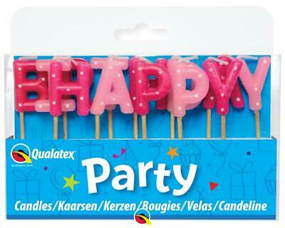 Pink Polka Dots Happy Birthday Letter Pick Candles Set