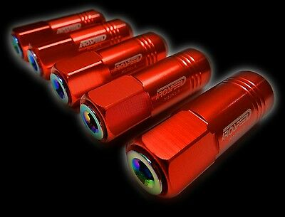 20Pc 12X1.5Mm 60Mm Extended Aluminum Tuner Racing Capped Lug Nuts Red/Neo