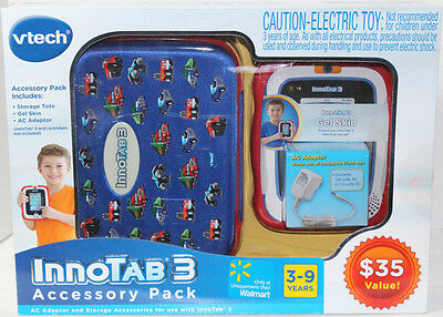 VTech INNOTAB 3 ACCESSORY PACK BLUE VEHICLES TOTE With AC ADAPTER GEL SKIN NEW