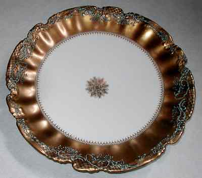Stunning Antique Limoges Plate Thick Gold & Snowflake Blue Enamel Flowers Marked
