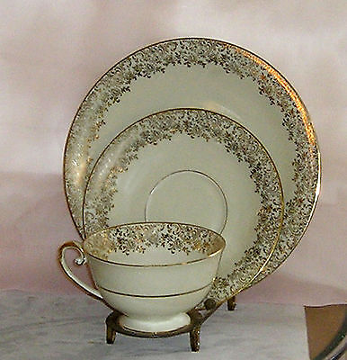 Tirschenreuth Tea Cup and Saucer Trio Mini Tea Gold Floral Lace Bavaria Germany