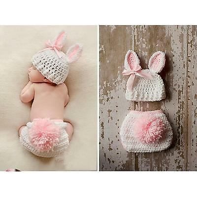 Newborn Baby Infant Costume Hat Rabbit Knitted Body Cover Photography Prop Set