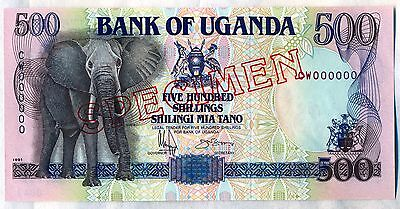 1991 Bank Of UGANDA 500 SHILLINGS SPECIMEN  P-33s  CW000000 UNC