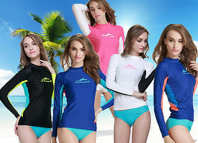 New Women Rash guard Long Sleeve Sun Shirts Uv Surf Swim Lycra Top Swimwear