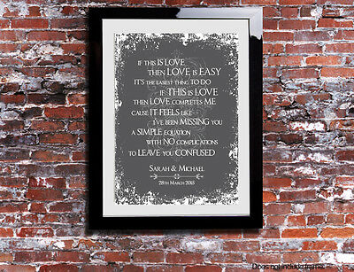 MADNESS IT MUST Be Love Lyrics Print Wedding Song