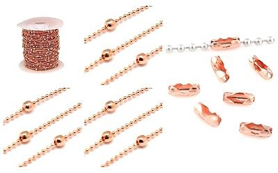 Superior Quality ROSE GOLD Plated Brass Bead & Ball Chain - 3mm - lady-muck1