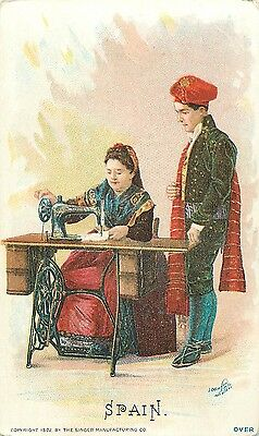 Singer Sewing Machines Spain 1892 Trading Card