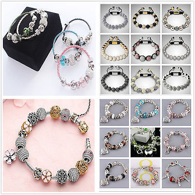 New Wholesale 925Solid SILVER European charm bead Chain Silver Bracelet Bangle