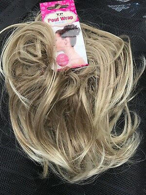 Hair scrunchie messy Wrap for bun updo hairpiece large Blonde Brown Ash Mix