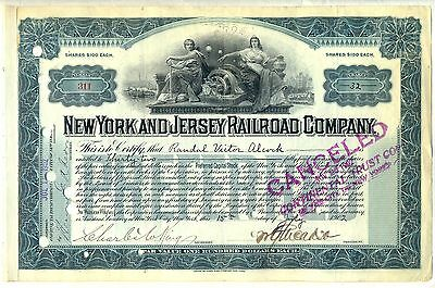 New York & Jersey Railroad Company Stock Certificate William Gibbs McAdoo