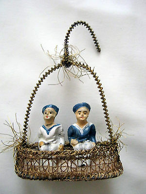 Rare christmas tree ornament -two  sailors sitting in Gondola -Germany