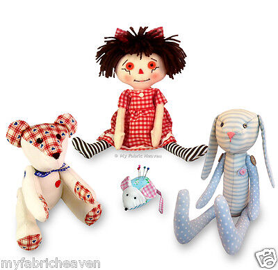 4 X Fabric Sewing PATTERNS Teddy Bear/ Rag Doll/ Mouse/ Bunny Rabbit Soft Toy