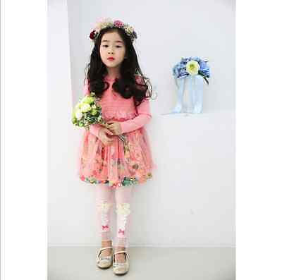 Baby Girls Sweet Lace Flower Tutu Dress Party Wear Clothes Set Wedding Outfit