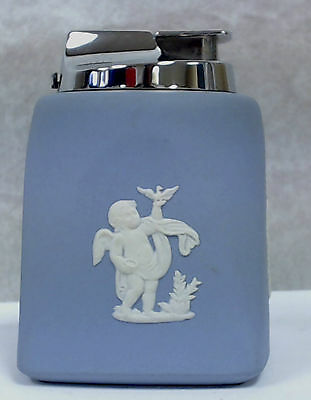 Ronson Table Lighter in Wedgewood Blue with Cupid Four Seasons