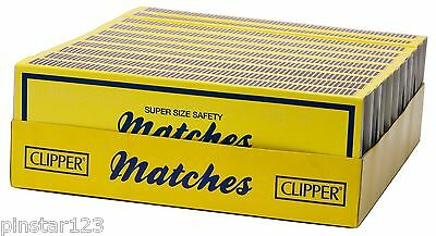 """-  10 BOXES Clipper XXL 7"""" LONG Wooden Safety Matches~BBQ~OPEN FIRES~CANDLES-"""