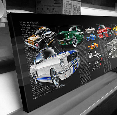 Ford Mustang Fastback Stretched Canvas Compilation  Stomp Impressions Art