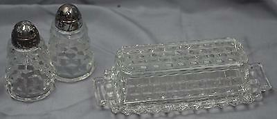 3 pc lot Fostoria American Covered butter dish with salt and pepper shakers READ