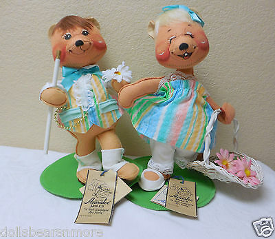 "NWT 1996 Annalee 10"" ""Easter Parade Girl & Boy Bears"" Set #0940 & 0941 C"