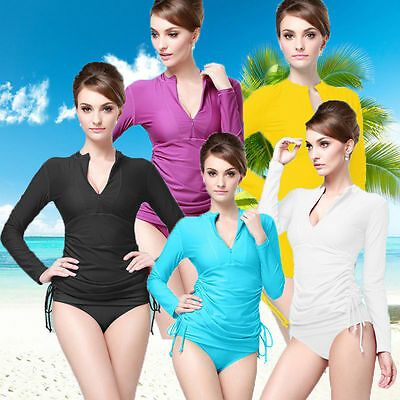 New Women Sun Shirts UV Surf Swim Long Sleeve Top Rash Guards Lycra Swimwear Top