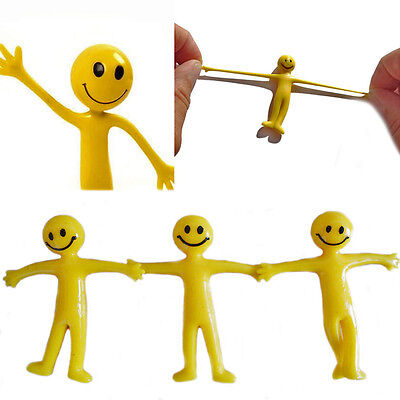 Stretchy Smiley Man Kids 6,12,24 Party Bag Filler Children's Fun Toy Stretch Men