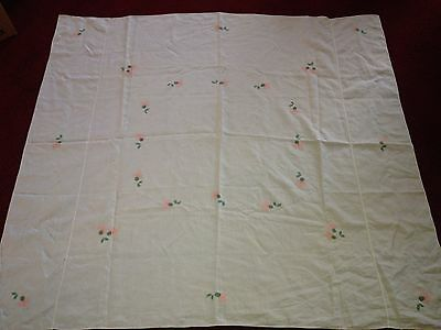 Vintage Cotton Linen Tablecloth Handstiched Embroidered Flowers