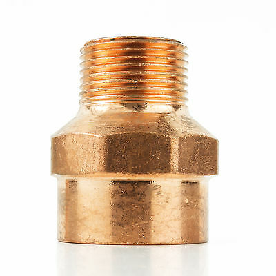 "1-1/2"" x 1-1/4"" CxM Copper Male Adapter Sweat x MIP Thread Plumbing Fitting"