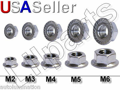 Stainless Steel SS Hex Head Serrated Flange Nuts Metric 304 18-8 M3 M4 M5 M6