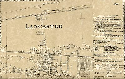 Lancaster NY 1866 Map with Homeowners Names Shown