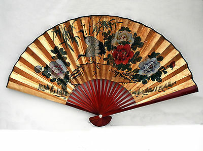 Asian Hand Painted Wall Hanging Paper Fan Cranes Floral Gift to Cyanotech Corp