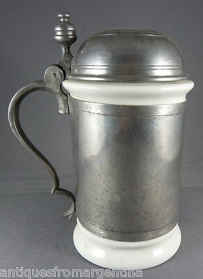 A Continental Porcelain Pewter-Mounted Stein - Tankard Early Nineteenth Century